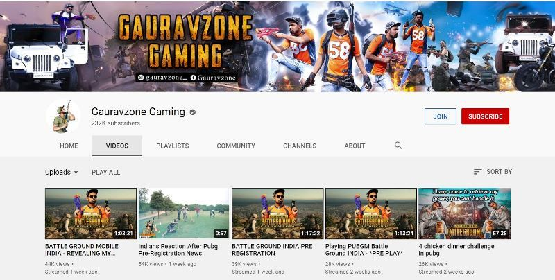 गौरव शर्मा का यूट्यूब गेमिंग अकाउंट