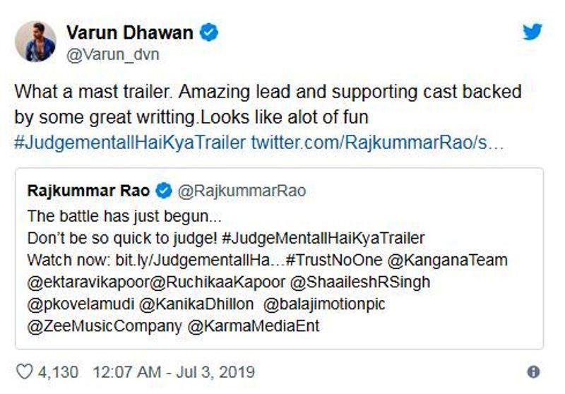 वरुण का ट्वीट