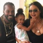 Chris Gayle with his partner and daughter