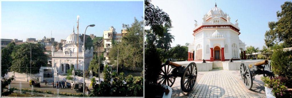 सारागढ़ी मेमोरियल गुरुद्वारा, अमृतसर (बाएं) और सारागढ़ी मेमोरियल गुरुद्वारा, फिरोजपुर (दाएं)