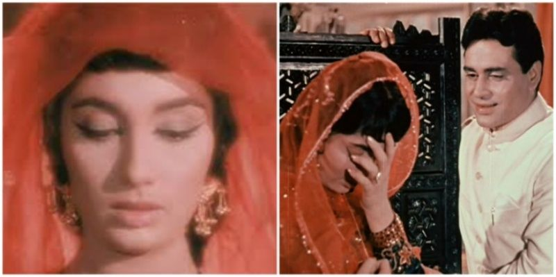 इंडियन दिग्गज एक्टर राजेंद्र कुमार के साथ फिल्म मेरे महबूब, साधना का एक दृश्य