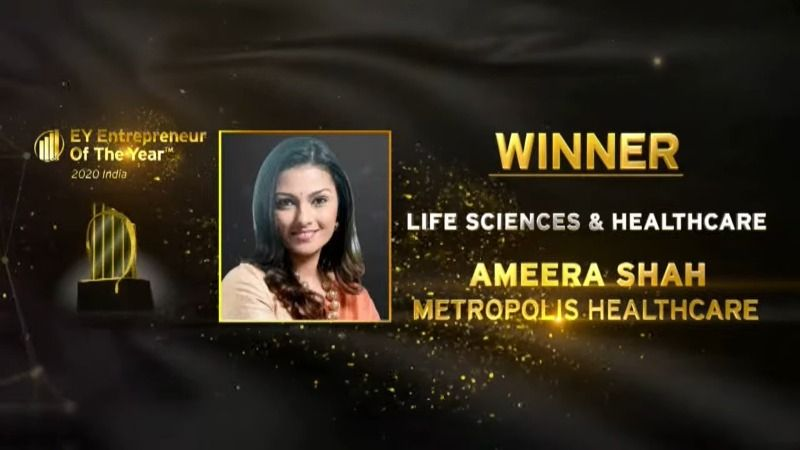 Ameera shah won EOY India 2020 award for Life Sciences and Health Care category