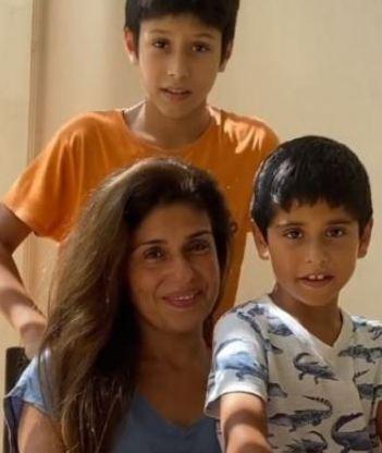 Anaita Shroff Adjania with her kids