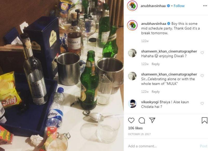 शराब पीने के बारे में अनुभव सिन्हा का इंस्टाग्राम पोस्ट