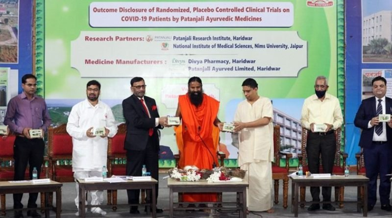 Baba Ramdev at the launch of Coronil