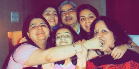 Bhavana Pandey with her parents and sisters