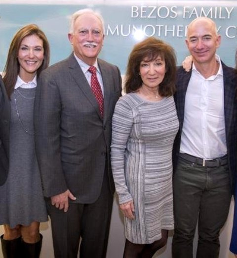 Jeff Bezos (Extreme Right) With His Mother (next to him), Step Father Mike and Sister (Extreme Left)