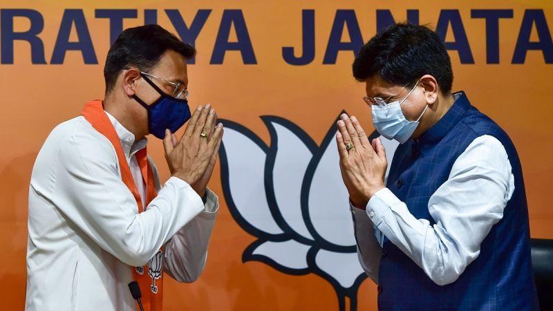 जितिन प्रसाद 9 जून 2021 को नई दिल्ली, भारत में इंडियन जनता पार्टी में शामिल होते हुए