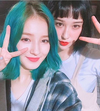 Nancy with her sister