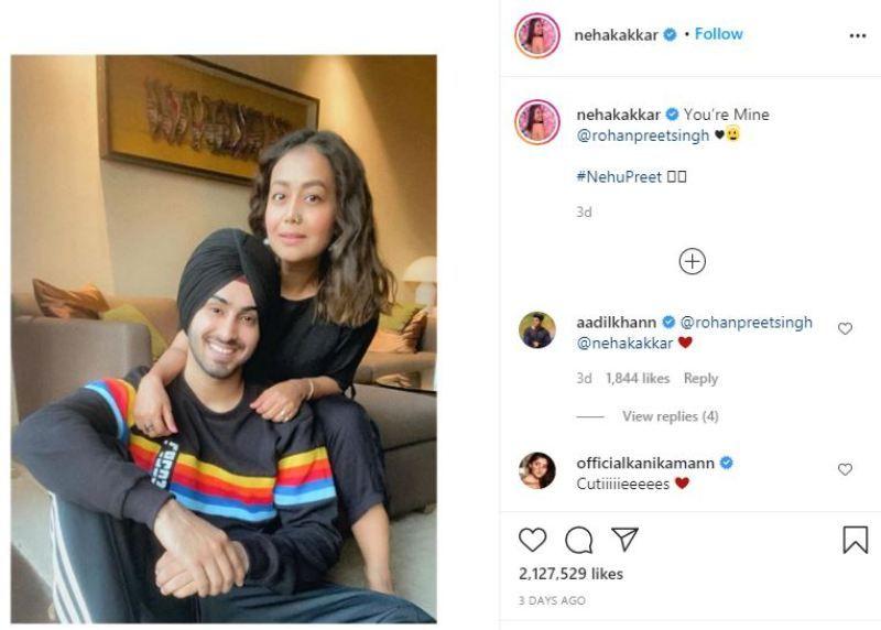 Neha Kakkar's Instagram post about her rumoured boyfriend Rohanpreet Singh