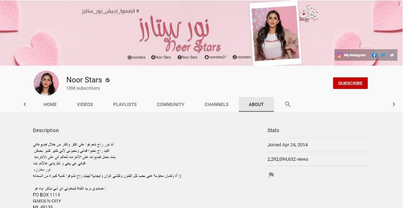 नूर स्टार्स का यूट्यूब चैनल