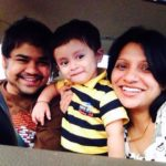 Prasad Barve with his wife and son