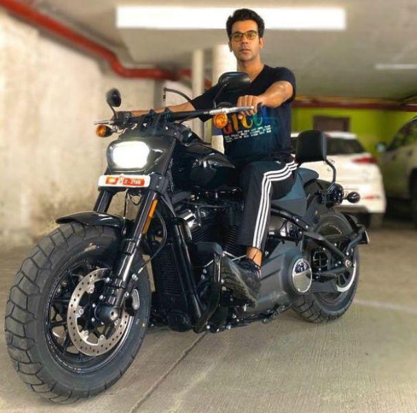 Rajkummar Rao Posing on His Harley Davidson Fat Bob