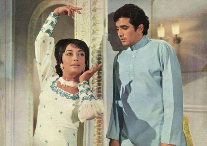 फिल्म दिल दौलत दुनिया में सह-एक्टर राजेश कुमार के साथ साधना