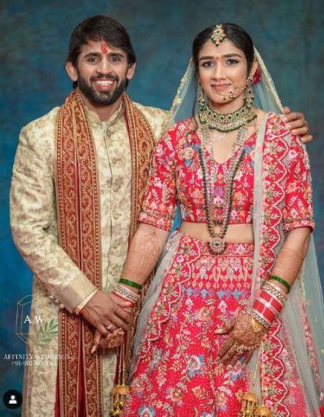 Sangeeta Phogat with her husband Bajrang Punia