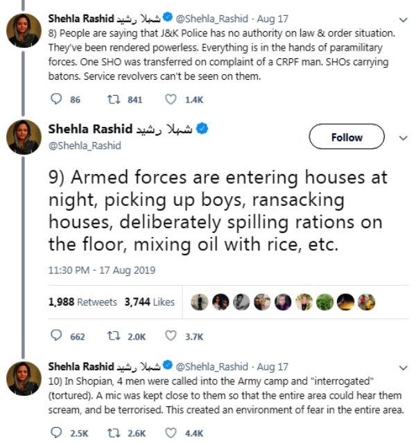 Shehla Rashid Tweets