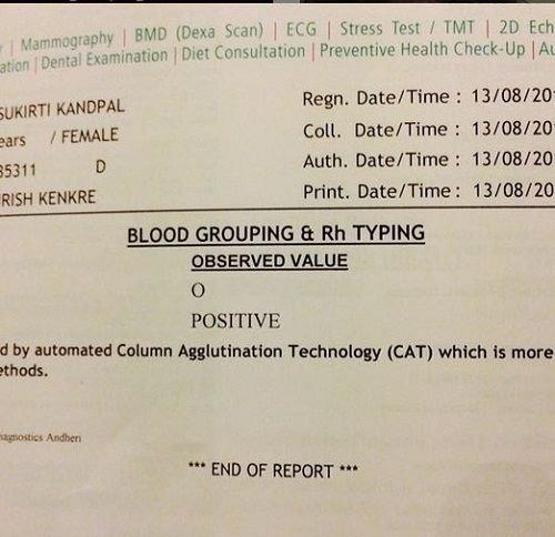 Sukirti Kandpal's Blood Group