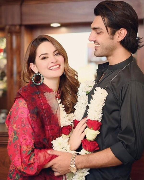 Minal Khan wth her fiancee